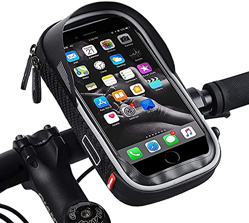 Bolsas De Manillar De Bicicleta Impermeable, Soporte De Teléfono Celular Motocicleta Universal Montaje De Teléfono Móvil Para Teléfono Inteligente De 3,5-6.5 Pulgadas Con Bolsa De Bicicleta De Pantall
