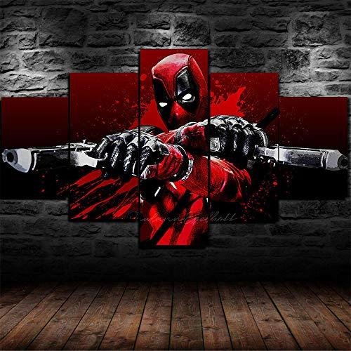 Bilder Kunstdrucke Moderne Druck Malerei Hintergrund Dekoration Modulare 5 Teiliges Wandbild Comics Dc Deadpool Superhelden-Gewehre Poster Wandkunst Leinwand Creative Geschenk Kunstwerk 150X80