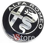 2 Fregi Stemma Alfa Romeo Nero Specchio Logo 74mm Cofano Anteriore Posteriore Emblema Black 147 156 159 Brera Mito METALLO