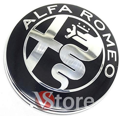 2 Emblemas escudo Alfa Romeo negro espejo logotipo 74mm capó delantero trasero emblema Black 147 156 159 Brera Mito metal