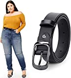 WERFORU Women Black Leather Belt Plus Size Polished Buckle for Jeans Pants(Suit for Waist Size 52-57 Inches, 1-Black)