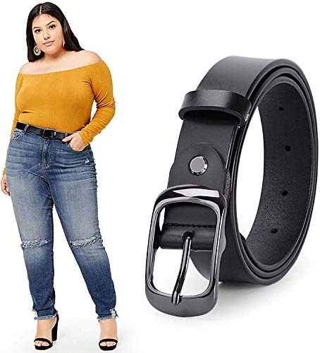 WERFORU Women Black Leather Belt Plus Size Polished Buckle for Jeans Pants(Suit for Waist Size 51-56 Inches, 1-Black)