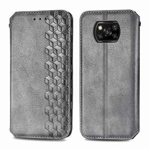 Handyhülle für Xiaomi Poco X3 NFC Hülle Leder Schutzhülle Brieftasche mit Kartenfach Magnetisch Stoßfest Handyhülle Case für Xiaomi Poco X3 - XISHD010601 Grau