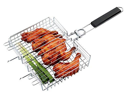 BrilliantDay Premium BBQ Grill-Korb aus Edelstahl mit Holzgriff-Grill-Wok/Grill-Pan/Grill-Rust/Vegetable Bowl/Vegetable Basket/Potato Basket