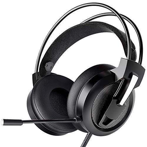 Greatever Headset PC, Gaming Headset PS4 Xbox Headset mit Noise Cancelling Mikrofon, Bass Surround Sound, Kopfhörer für PC MAC Laptop IPad IPod Smartphone (Schwarz)