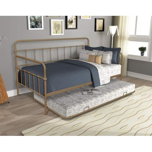COZEON Pull Out Metal Daybed with Twin Size Trundle, Modern Sofa Bed Frame for Living Room Bedroom Small Space
