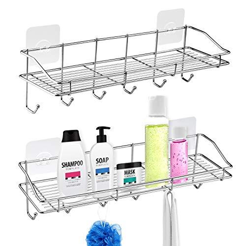 Laigoo - Organizador para ducha, estantes de baño con 6 ganchos, sin perforar con adhesivo flotante para pared, organizador para baño, cocina y dormitorio (acero inoxidable, 2 unidades)