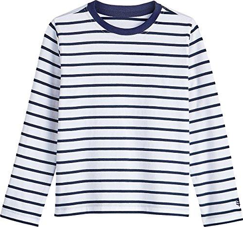 Coolibar UPF 50+ Kid's Coco Plum Everyday Long Sleeve T-Shirt - Sun Protective (X-Small- Navy/White Stripe)