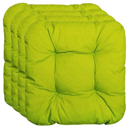 Brandsseller Kissen 4er Set Sitzkissen Stuhlkissen Stuhlauflage Streifen/Grün