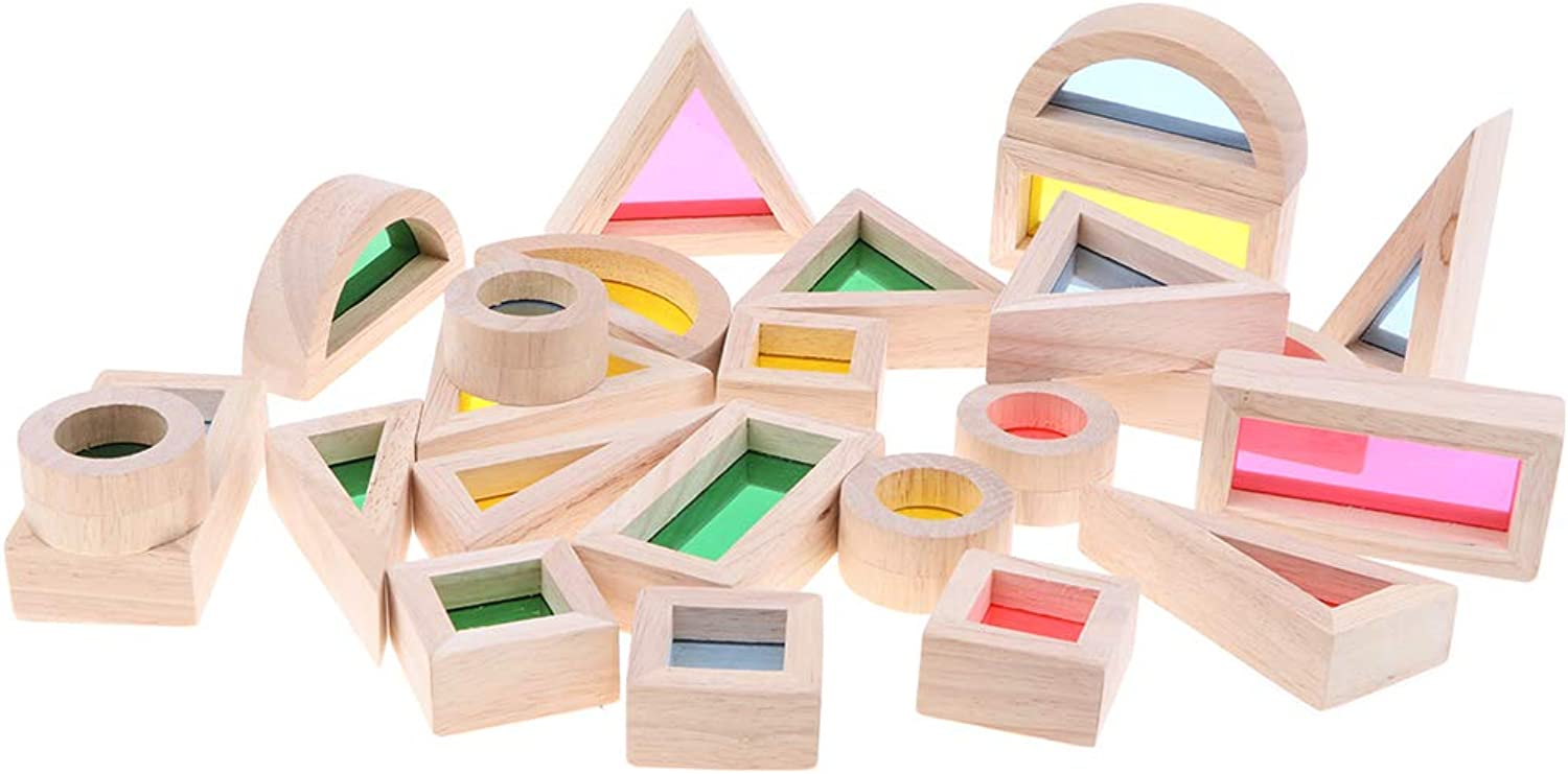 MagiDeal Baby Toddler Montessori Toys Rainbow Buliding Blocks Wooden Educational Toy