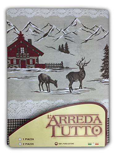 tex family Telo ARREDO COPRITUTTO Gran Foulard COPRILETTO COPRIDIVANO Tessuto Tirolese Montagna Rosso - 1 Piazza