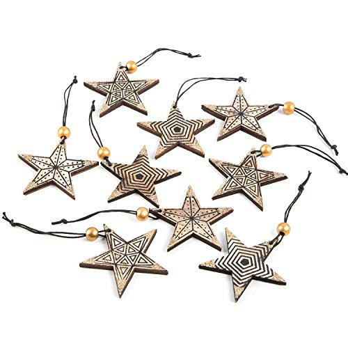 Logbuch-Verlag Set 9 Holz Sterne Anhänger mit Schnur zum Aufhängen 9 cm braun schwarz gold Weihnachtsanhänger 7 cm Holzsterne Weihnachten Dekoration Baum
