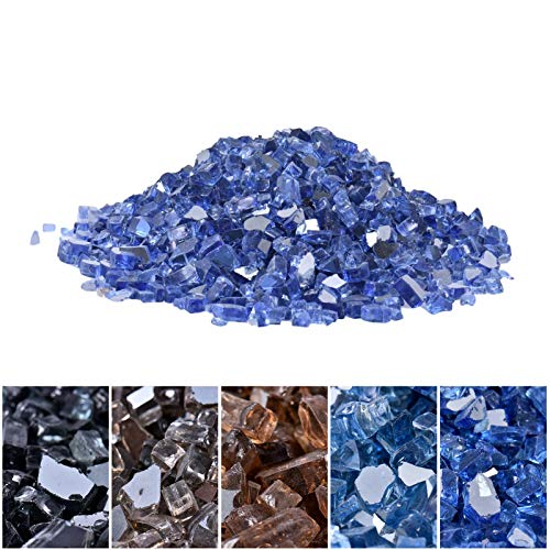Reflective Fire Glass for Propane Fire Pit, 1/2 Inch High Luster Reflective Tempered Glass Rocks Fireproof Glass for Fireplace Or Natural, Suitable for Indoor Or Outdoor Stoves, Bathtubs