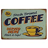 AiYahoo Fresh Brewed Coffee Served Here Have a Cup Retro Vintage Metal Sign 12' X 8'