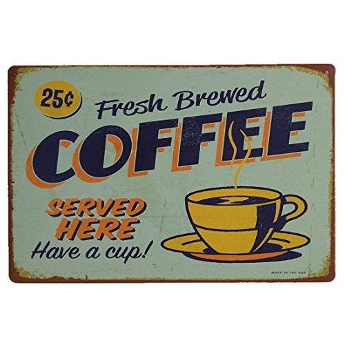 AiYahoo Fresh Brewed Coffee Served Here Have a Cup Retro Vintage Metal Sign 12 X 8