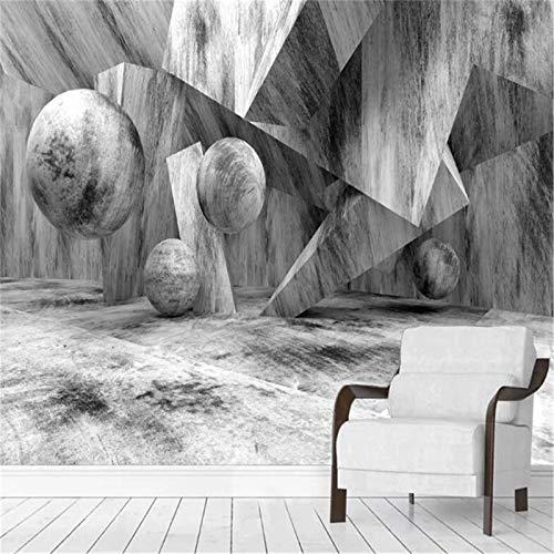 JIYOTTF Efecto 3D decoración de interiores dormitorio infantil.Simple creativo gris dimensional geométrico(W 200x H 150cm) Papel tapiz fotográfico 3D Etiqueta de la pared Pegatinas de pared Decoracio