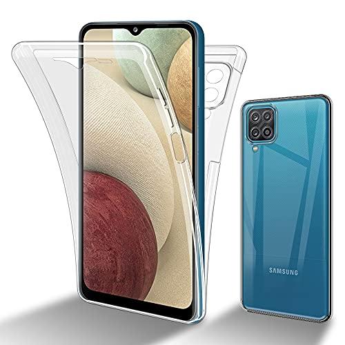 Cadorabo Funda Compatible con Samsung Galaxy A12 / M12 en Transparente - Funda para teléfono móvil de Cuerpo Completo de 360° Delantera y Trasera Protección Integral con protección de Pantalla