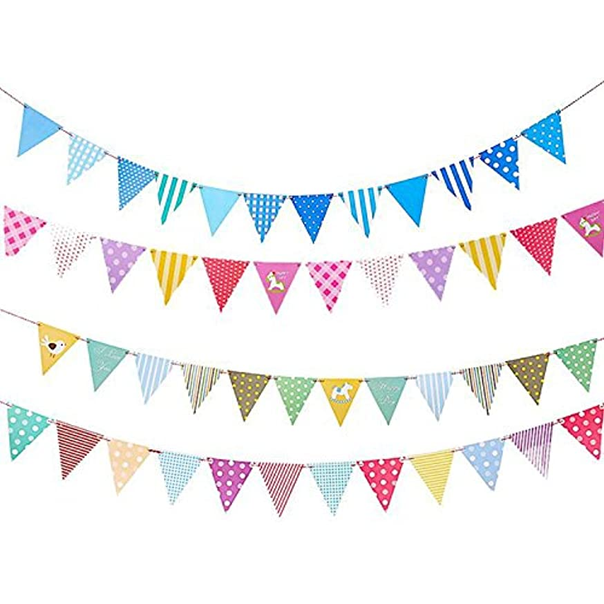 Party Flags - iMagitek 4 Pack Colorful Multi-Print Triangle Pennant Flags Hanging Decorations for Parties,Holidays,Birthdays,Wedding,Festivals,Nursery - Celebration & Decoration for Indoor or Outdoor
