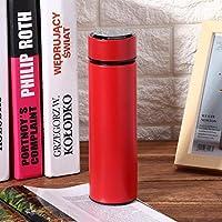 キャンプ用ティーフィルター真空カップ付きステンレス鋼ポータブル500mlウォーターカップ(red)