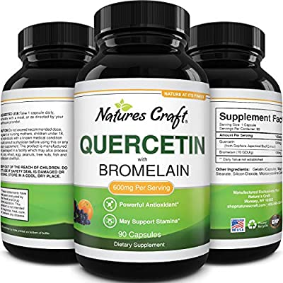 Immune Support Quercetin with Bromelain Supplement - Quercetin 500mg Antioxidant Supplement for Joint Support Lung Health Immunity Boost and Brain Focus - Pure Quercetin Bromelain Brain Supplement