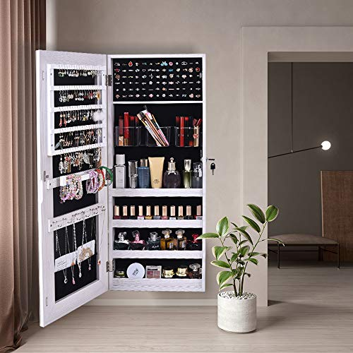Full Mirror Jewelry Cabinet Lockable Armoire Organizer