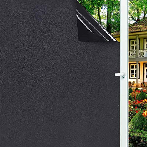 Verwijderbare 100% lichtblokkerende statische totale verduisterende raamfolie Privacy Room Darkening Window Tint Black Window Sticker, 60x200cm