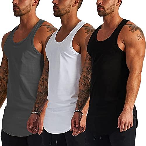 COOFANDY Pack de 3 camisetas sin mangas para hombre, para entrenamiento muscular, culturismo, fitness, negro blanco gris, S