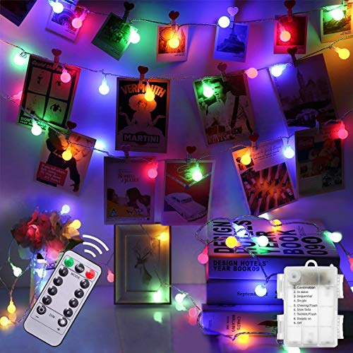 Colorful Battery Fairy Lights - 5M 50led Blub Fairy Lights with 8 Lighting Modes Waterproof Fairy String Light for Indoor Outdoor Christmas Tree Wedding Party Home Bedroom(Colorful)