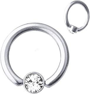 Piercing para el frenillo de titanio, 1,2 mm con cristales blancos de Swarovski, 6-10 mm.