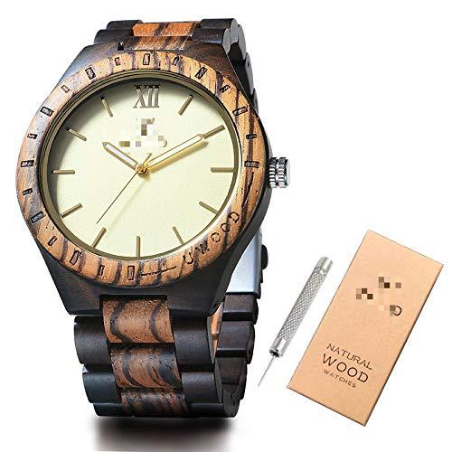 Relojes de Madera Relojes para Hombre Reloj de Pulsera de Madera de bambú para Hombres Pulsera de Madera Relojes de Cuarzo para Hombres Regalo mixblack