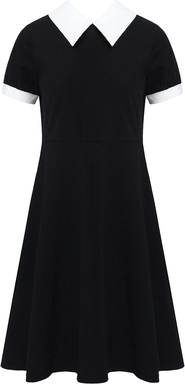 YUUMIN Kids Girls School Uniform Black Short Sleeves White Collar A-line Dress with Back Button