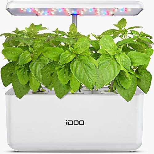 iDoo Sistema de Cultivo Hidropónico, Kit de Inicio de Jardín de Hierbas para Interiores con luz de Crecimiento LED, Maceta de Jardín Inteligente para Cocina casera, Altura Ajustable (7 vainas)