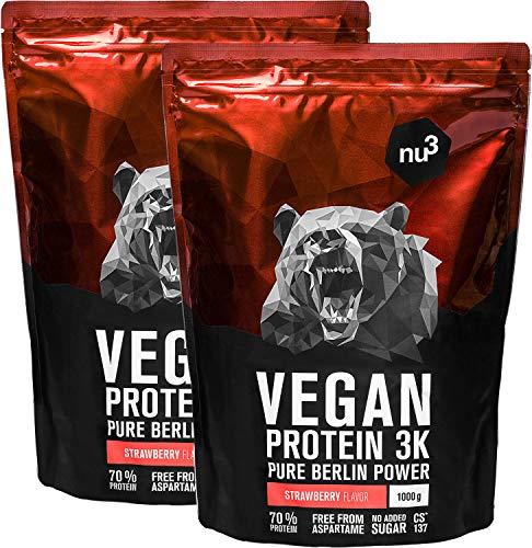 nu3 Proteína vegana 3K - 2kg de fórmula - 70% de proteína a base de 3 componentes vegetales - Proteínas para el crecimiento de la masa muscular con delicioso sabor fresa