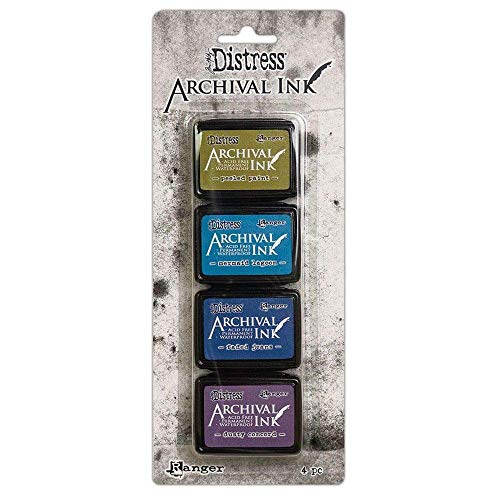Ranger Distress Archival Mini Ink Kit 2-Peeled Paint/Zeemeermin Lagoon/Faded Jeans/Dusty Concord, Diverse, 4 Pads