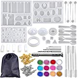 Juego de 94 moldes de resina y herramientas, kit de fabricación de joyas moldes de resina de silicona con taladro y bolsa de resina epoxi Kit kits de resina para principiantes