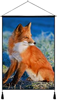 KaoHun Red Fox Look at Side - Art Print on Canvas Wall Hanging Poster Home Wall Decoration Poster Painting (16x24inch)
