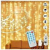 WOTEK Cortina de Luces LED USB,3m*3m 300 LED cortinas de luces navidad,12 Modos con 4 Modo Música,Luces de Hadas Decoración de Casa,Fiesta,Arbol de Navidad, Bodas, Baños,Jardín,etc [Blanco Cálida]