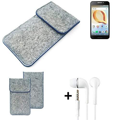 K-S-Trade Filz Schutz Hülle Für Alcatel A30 Plus Schutzhülle Filztasche Pouch Tasche Handyhülle Filzhülle Hellgrau, Blauer Rand + Kopfhörer