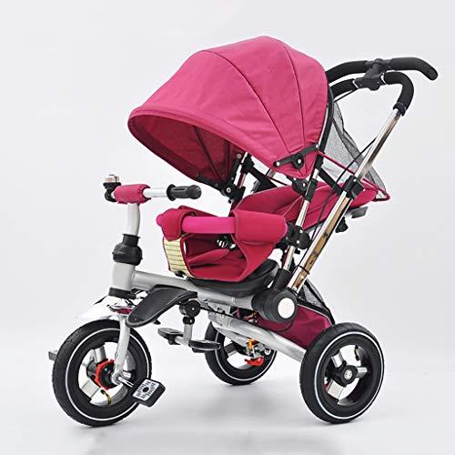 NBgy driewieler multifunctioneel driewieler 3 in 1 voor kinderen met luifel, draaibare zitting, baby van 1 tot 6 jaar, 2 kleuren, frame van staal, 58 x 81 x 56 cm