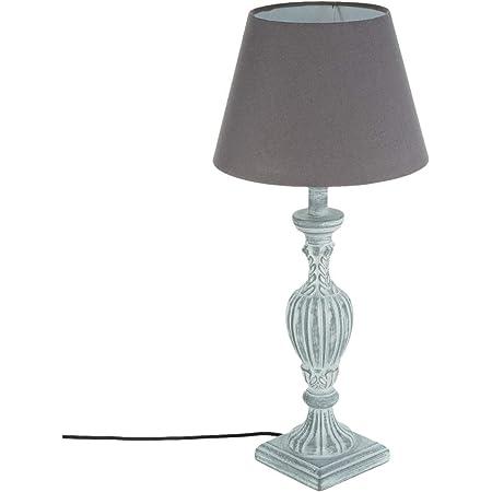 Lampe pied en bois patiné veilli gris 56 cm
