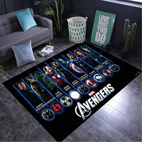 wanyouyinli The Avengers Marvel Team Superhelden Fußmatte Teppich Spiderman Iron Man Captain America Teppichboden Schlafzimmer Fußmatte rutschfeste Matte Geschenk Y-1339C 80X150Cm