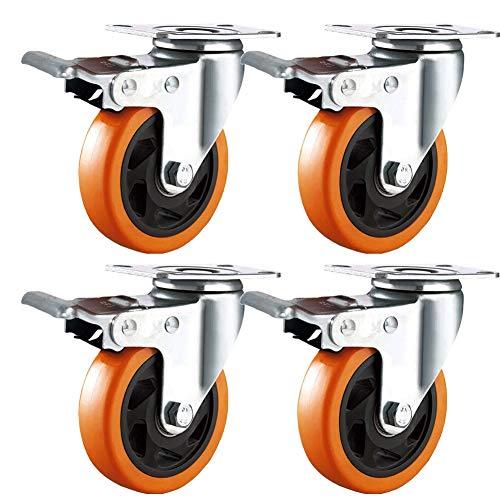 Roulettes pivotantes pour Meubles avec frein 100mm Roue Plaques Industrielles Transport Lot de 4