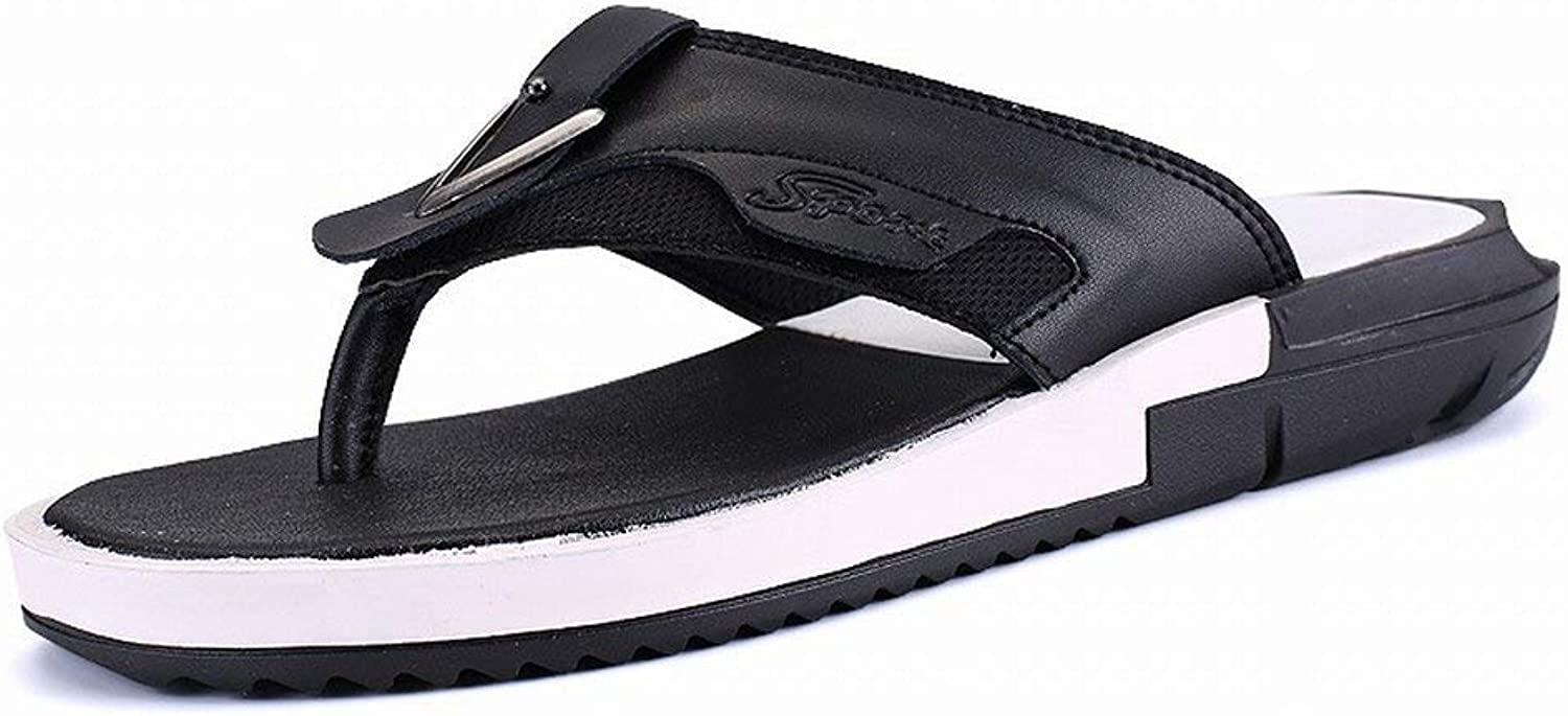 FuweiEncore All-match Slipper The Microfiber Comfortable Flip Flop Casual Fashion Personality-Male tide shoes (color   Black, Size   42)
