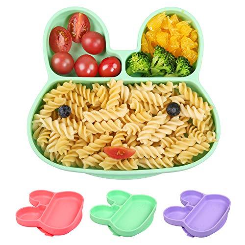 BelleStyle Baby Teller, Kinderteller mit Saugnapf, Silikon Rutschfest Babyteller Schüssel Kaninchen Tischset für Baby Kleinkinder und Kinder, Passend für Die Meisten Hochstuhl-Tabletts (Grün)