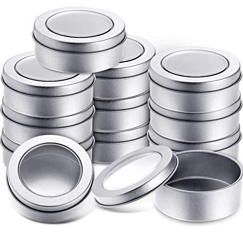 TecUnite Metalldosen, rund, leere Dosen mit transparentem Deckel, für Küche, Büro, Kerzen, Bonbons, 12 Packungen