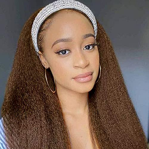 Headband Wig for Black Women Kinky Straight Wigs with Headband Afro Yaki Heat Resistant Long Mixed Light Brown Headband Synthetic Wig for Daily Party Use Synthetic Hair