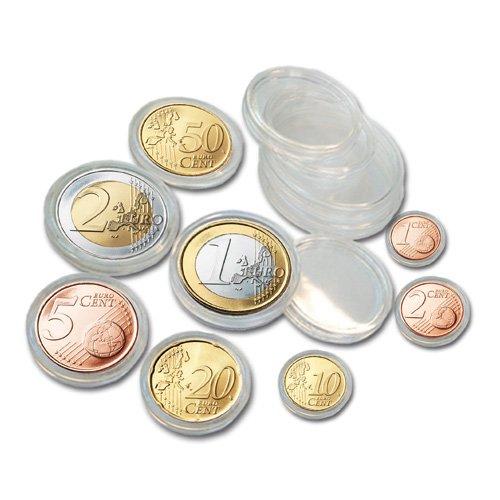 SAFE 200 Münzkapseln 25x komplette EURO Kursmünzensätze KMS von 1 Cent - 2 Euromünzen - je Caps Größe 5x Münzkapseln 165 - 19 - 20 - 21,5 - 22,5 - 23,5 - 24,5 - 26 - Ideal für EURO Jahrsgangsmünzen Sammler
