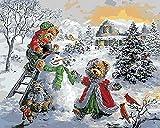 ABEUTY Cuadro decorativo para pared, diseño de muñeco de nieve de invierno, batalla de bolas de nieve, pintura por números, pintura al óleo sobre lienzo, 40 x 50 cm (día de nieve, sin marco)