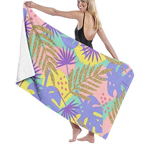 Zhung Ree - Toalla de baño para piscina, diseño de hojas de plátano, toalla de playa, secado rápido, toalla de baño, ducha infantil, manta ultra suave, para barco, camping, 81,2 x 132,8 cm