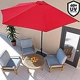 Deuba Sonnenschirm Ø 2,7m mit Kurbel halbrund UV-Schutz 40+ wasserabweisend I rot - Terrassen Sonnenschirm Balkonsonnenschirm Terrassenschirm Balkonschirm
